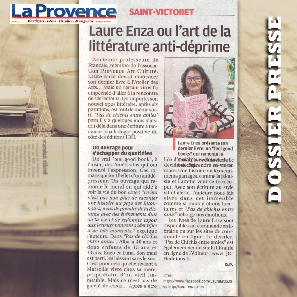 Laure Enza ou l'art de la littérature anti-déprime, c'est dans La Provence.
